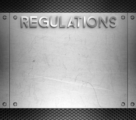 nickel panel: Regulations concept on steel plate background