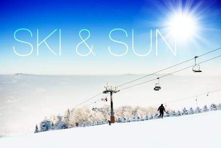 Ski and sun on ski slope creative conceptual illustration illustration