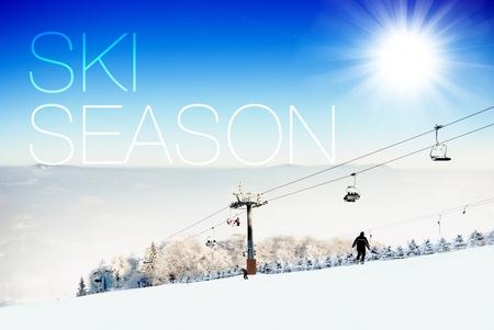 Ski season on ski slope creative illustration