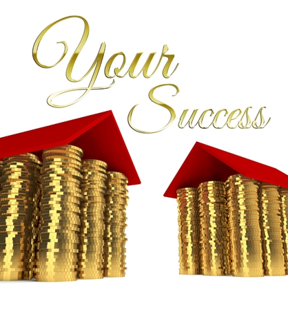 Your success with houses made ??of coins photo