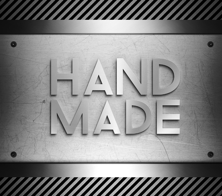 Hand made on steel plate background Stock Photo