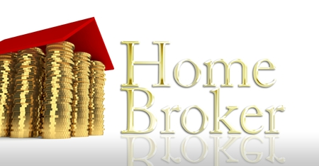 Home broker with house made ??of coins photo