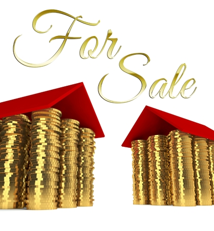 Home for sale, houses made ??of coins photo