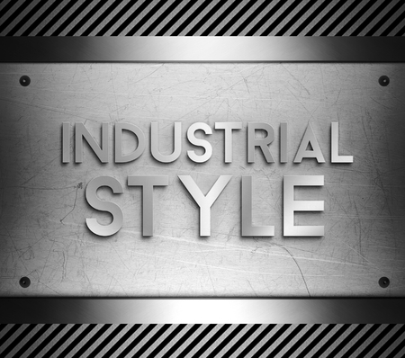 nickel panel: Industrial style concept on steel plate background Stock Photo