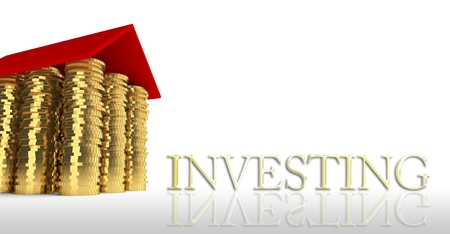 Investing with house made ??of coins photo