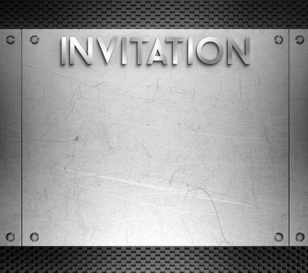 nickel panel: Invitation concept on steel plate background