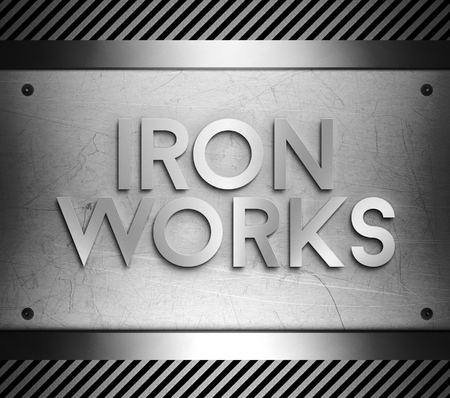 iron works: Iron works concept on steel plate background Stock Photo