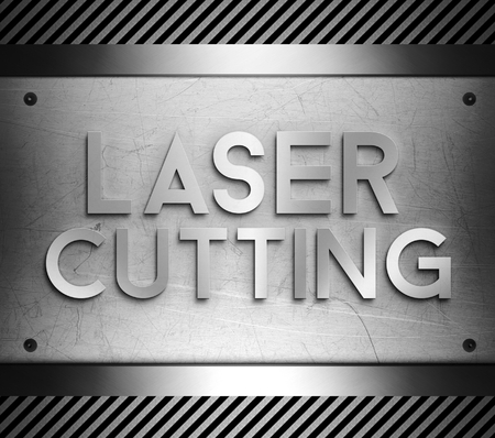 Laser cutting concept on steel plate background photo