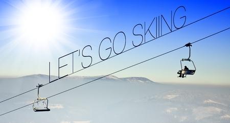 Lets go skiing on ski lift, creative conceptual illustration illustration