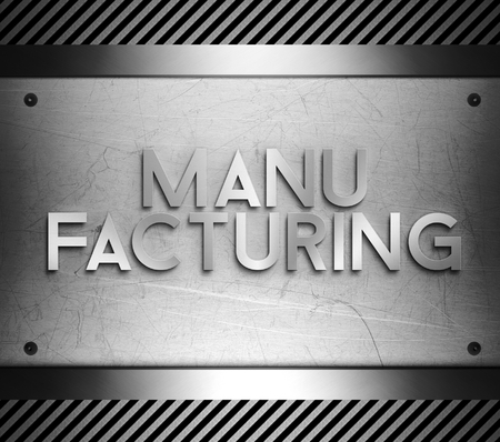 nickel panel: Manufacturing concept on steel plate background Stock Photo