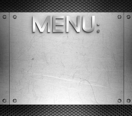restauration: Menu concept on steel plate background