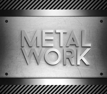 nickel panel: Metal work concept on steel plate background