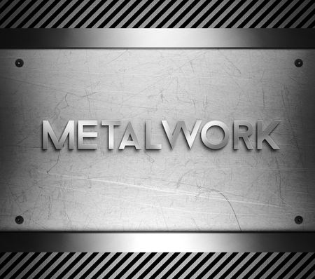 Metalwork concept on steel plate background Stock Photo