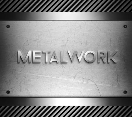 nickel panel: Metalwork concept on steel plate background Stock Photo