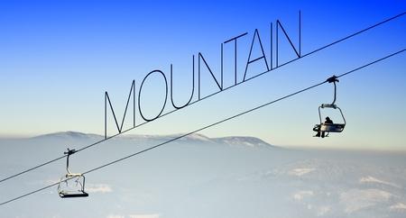 Mountain on the ski lift, creative conceptual illustration illustration