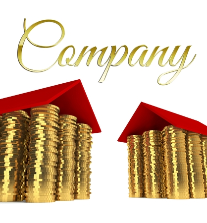 Real estates company with houses made ??of coins photo