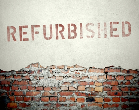 Refurbished concept on old brick wall background photo