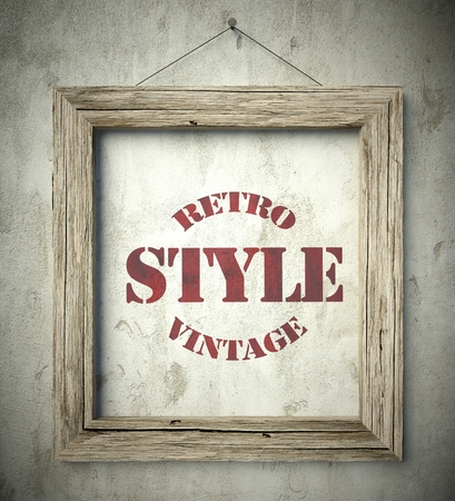 scraping: Retro style vintage emblem in old wooden frame on aged wall Stock Photo