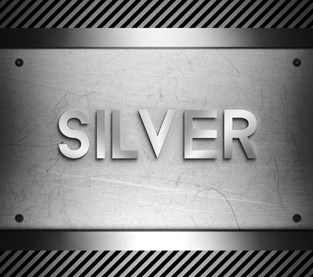 nickel panel: Silver concept on steel plate background Stock Photo