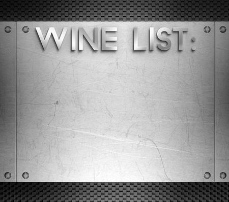 piastra acciaio: Lista dei vini concetto su acciaio piatto sfondo