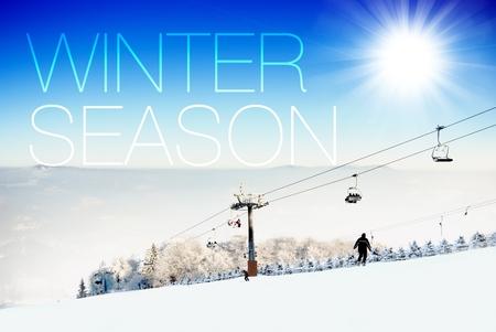 the slope: Winter season on ski slope creative conceptual illustration