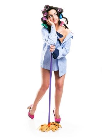 estereotipo: Sue�o de la mujer houswife limpieza de la casa, el concepto de estereotipo