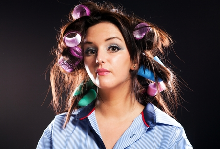 haircurlers: Funny woman portrait, hair with curlers