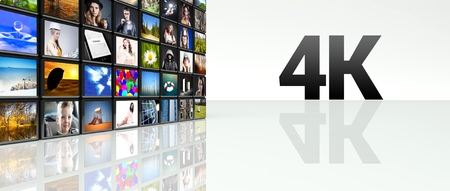 4K technology video wall, LCD TV panels Stock Photo
