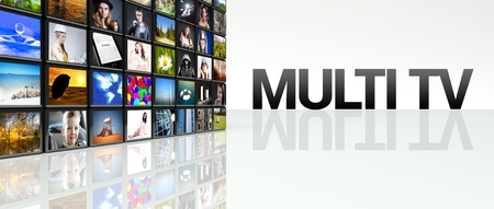 Multi TV technology video wall, LCD panels Stock Photo - 29027153
