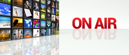 On Air video wall, LCD TV panels Stock Photo - 29027157