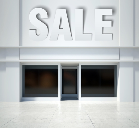 shopfront: Shopfront window and sale, modern building front view Stock Photo