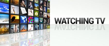Watching TV technology video wall, LCD panels Stock Photo
