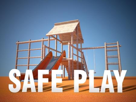 3d Children playground area, safe play concept photo