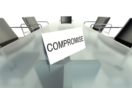 compromise: Compromise business table card in office Stock Photo