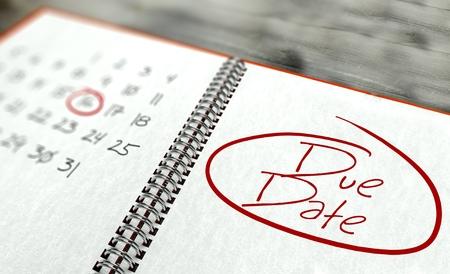 Due date important day calendar concept photo
