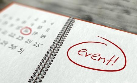 Evento importante calendario concepto día