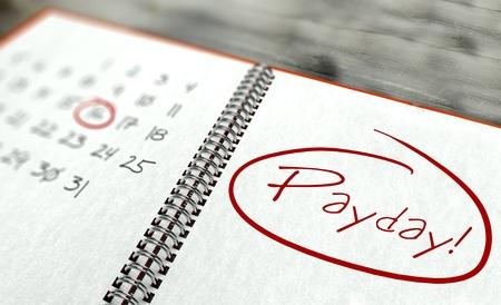 Pay Day belangrijke agenda-concept