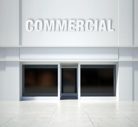 shopfront: Shopfront window commercial, modern building front view