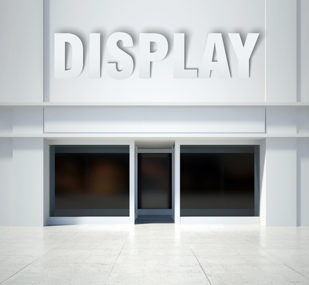 window display: Shopfront window display, modern building front view Stock Photo