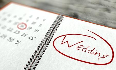 Boda importante calendario concepto día
