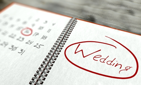 a marriage meeting: Wedding important day calendar concept