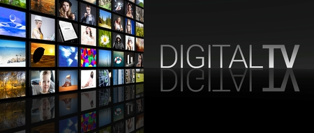 Digital television screens on black Stock Photo - 29547921