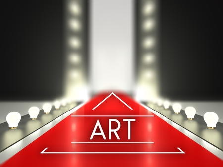 Fashion runway, art on red carpet catwalk Stock Photo