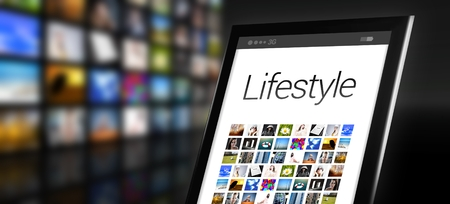 Lifestyle, tablet with many app icons Stock Photo - 29547940