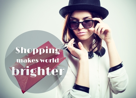 brighter: Shopping makes world brighter quote Stock Photo