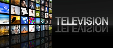 high definition television: Television screens on black  Stock Photo