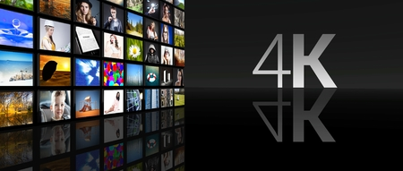 4K Television screens on black background Stock Photo