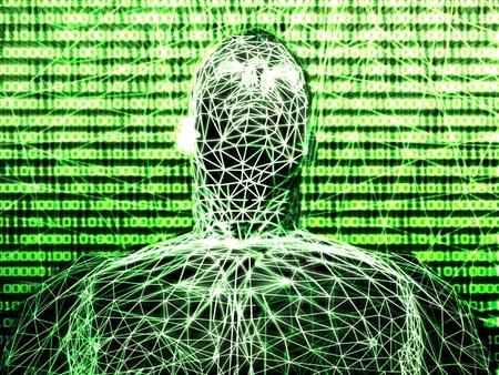 futuristic man: Abstract futuristic man with binary code
