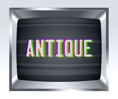 crt: Antique on old tv screen with noise