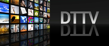 DTTV television screens on black  Stock Photo - 29547948